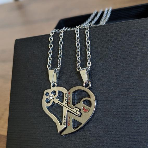 Conjunto 2 Colares/cordão Casal Coração Chave Que Se Encaixa