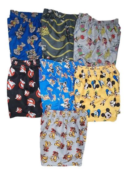 Kit 6 Shorts Estampado Mauricinho Desenhos Animado Carnaval