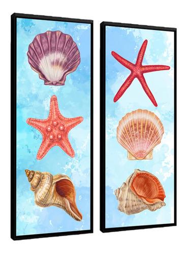 Quadro Decorativo Estrelas Conchas Do Mar Colorido Moldura
