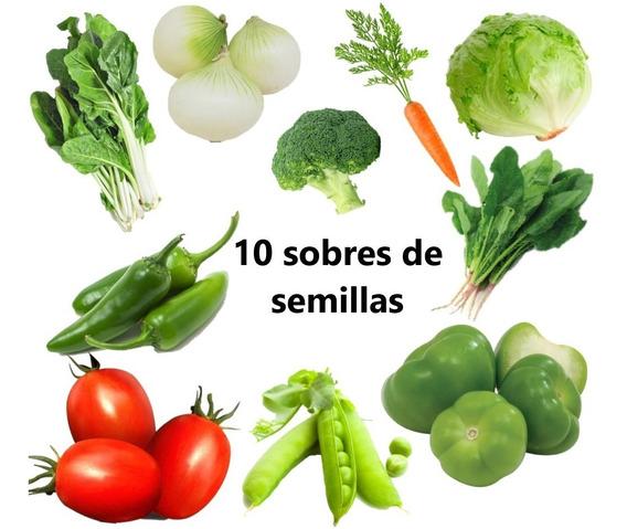 10 Sobres Semillas Orgánicas. Hortalizas Fáciles Para Huerto