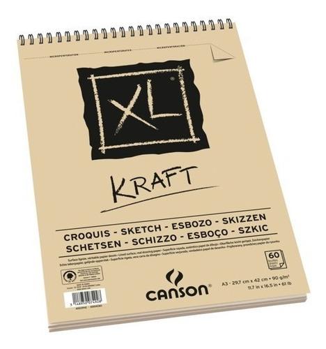 Imagem 1 de 4 de Bloco Papel Canson Xl A5 90g 40fl Kraft Verge Esboço Sketch