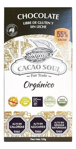 Chocolate 55% Orgánico Cacao Soul Barra 100g S/gluten S/lech