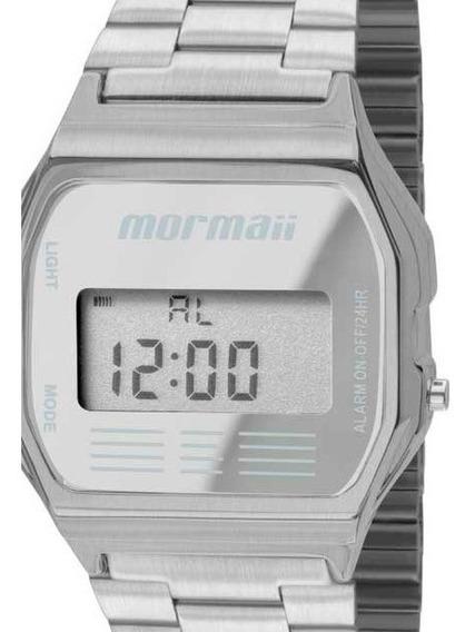 Relógio Digital Prata Aço Metal Mormaii Vintage Unissex Quadrado Mojh02aa/3c Original
