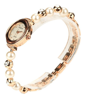 Reloj Cadena Diamante Ceramica Concha Dorada Perla Blanca