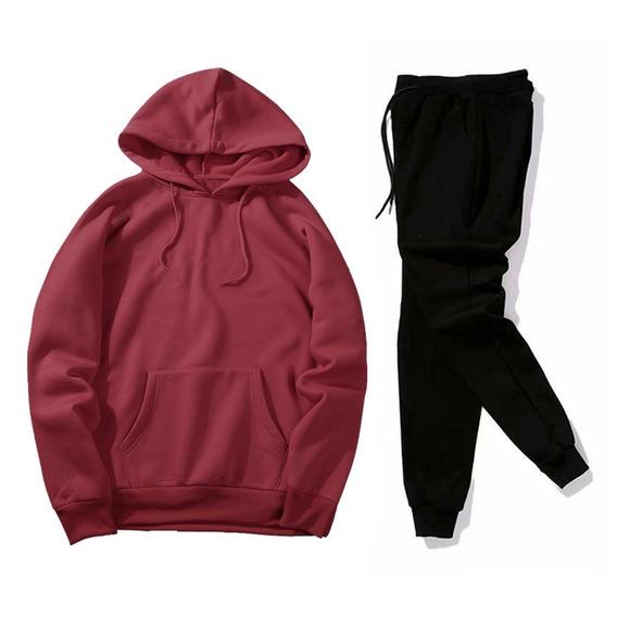 Moletom Masculino Abrigo Liso Calça + Blusa Conjunto Inverno