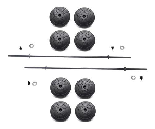 Imagen 1 de 3 de Kit 80lbs, 2 Barras Rectas, 8 Discos 10lbs, Pesas Ejercicio