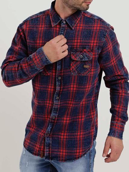 Camisa Manga Longa Masculina Dixie Vermelho/azul
