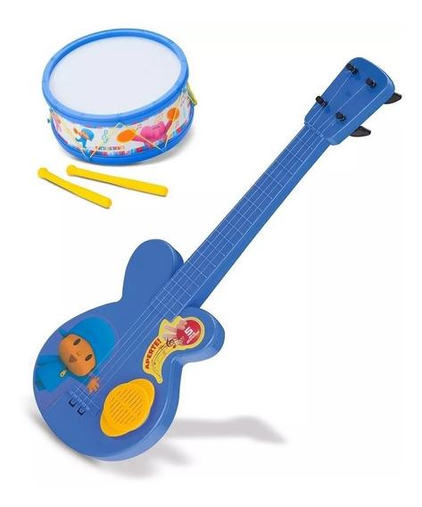 Kit Instrumental Infantil Guitarra + Tamborete Pocoyo