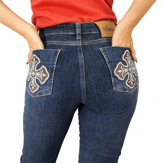 Calça Jeans Bordada Country Feminina Os Vaqueiros