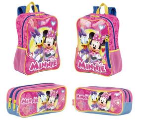 Kit Mochila Infantil 64986 + Estojo Escolar 64989 Minnie
