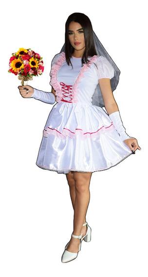 Vestido De Noiva Caipira De Festa Junina Lindo Com Luva +véu