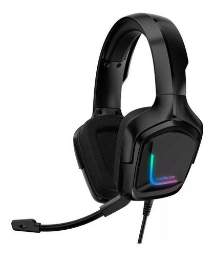 Imagen 1 de 3 de Audífonos gamer Redlemon G5000 negro con luz  rgb LED
