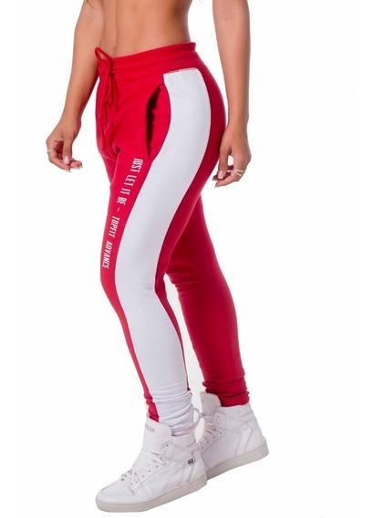 Calça Jogger Adavnce Casual Vermelho/branco