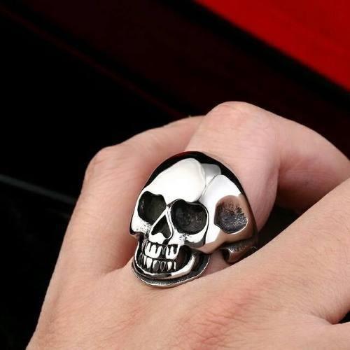 Anel Aço Inox Caveira Punk Rock Gótico Moto Carro Metal Mc