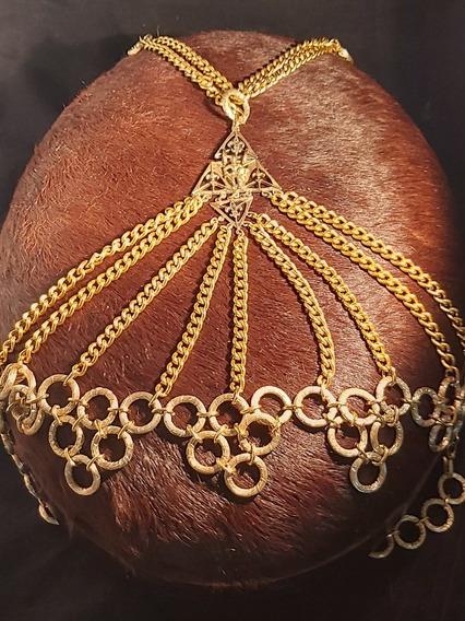Rdf01957 - Colar Cinto Em Metal Dourado