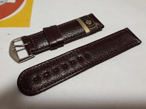 Pulseira Relógios De Couro Macio Marrom 22mm