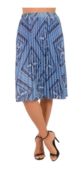 Falda Larga Casual Dama Mujer Tableada Color Azul Diseño Geometrico Comoda