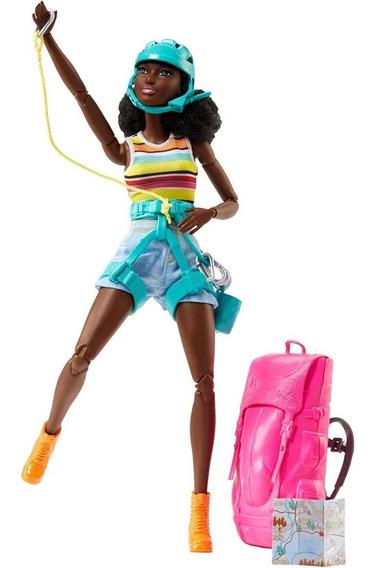 Boneca Barbie Alpinista Negra Feita Para Mexer Made To Move