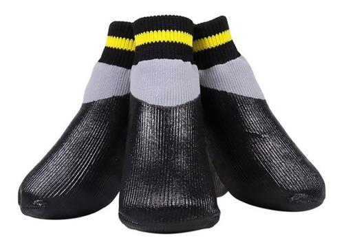 Cão Sapato Impermeável Meia Chuva Antiderrapante Cinza/preto