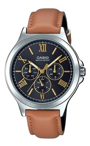 Casio Mtp-v300l-1a3 Pulseira De Couro