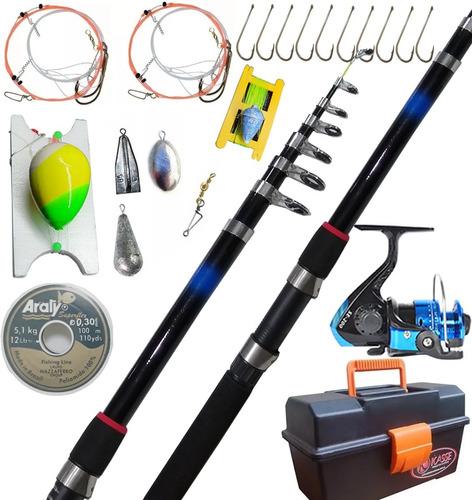 Combo Completo Caña Reel Caja De Pesca Lineas Plomadas +++