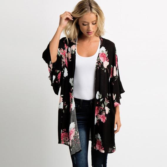 Nuevo Summer Women Chiffon Kimono Floral Print 3/4 Sleeve