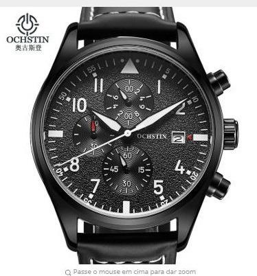 Relógio Ochstin Gq043b Couro Preto Luxuoso (promoção)