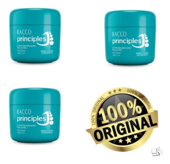 Kit 3 Creme Desodorante Para Pés Principles Racco 50g Cada