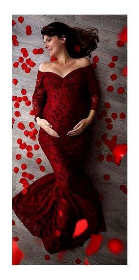Vestido Embarazada Sesión Fotográfica Blonda Elegante Strech