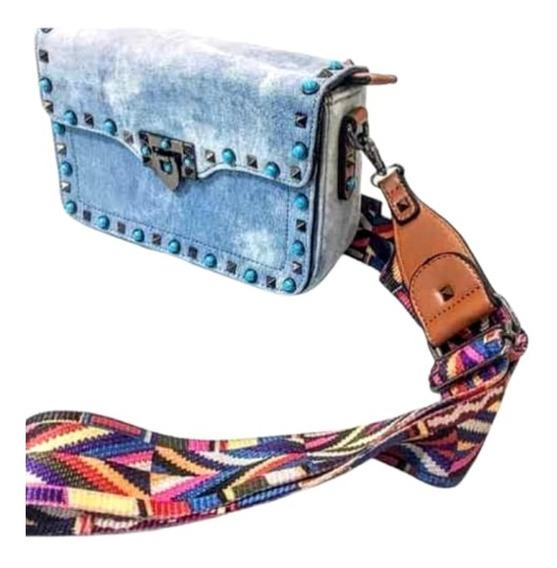 Bolsa Feminina Jeans Alça Colorida E 1 Couro Cor Bolsa