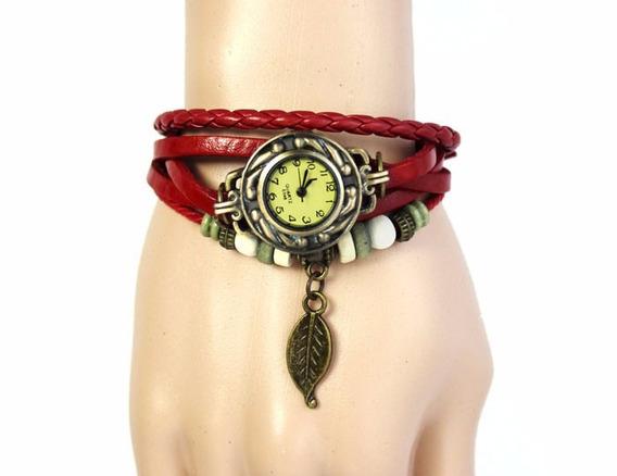 Relógio Feminino Pulseira Couro Vermelho Com Pingente