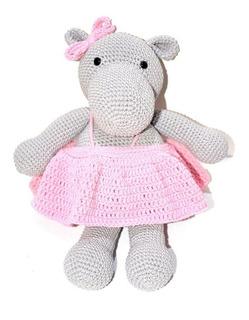 Hipopotamo Con Vestido. Amigurumi Tejido A Crochet.