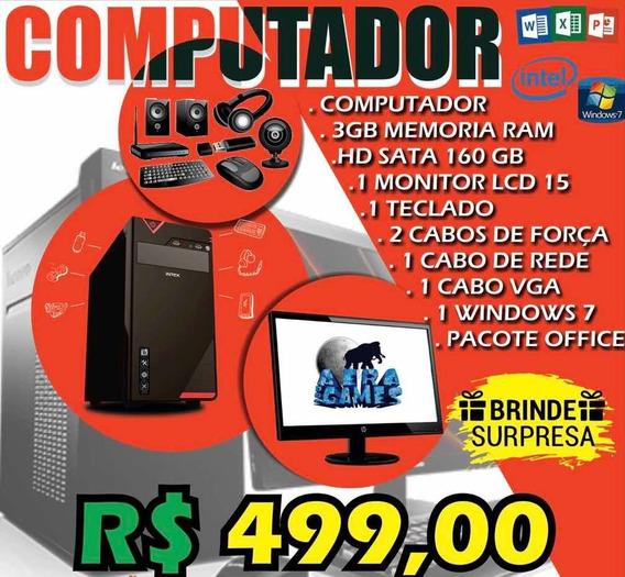 Computador Completo + Monitor + Mouse + Teclado + Cabos