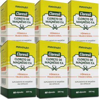 Cloresil - Cloreto De Magnésio P. A. 500mg - 6x60 Cápsulas