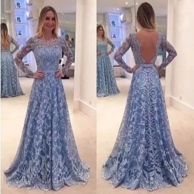 9198b57ab Vestido Festa Longo Madrinha Casamento Formatura Renda Sexy - R$ 178 ...