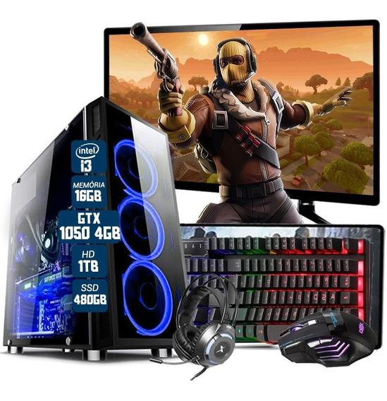 Pc Gamer Completo I3 7º Ger. Gtx1050 16gb Ssd480gb Mon.19