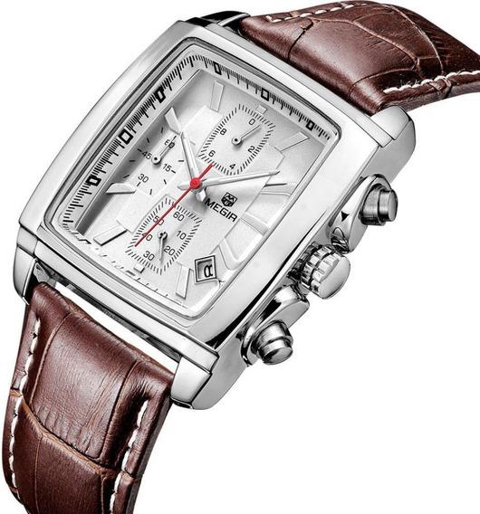 Relógio Megir 2028 Original De Luxo Com Cronógrafo E Couro
