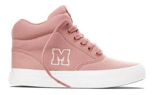 Tênis Mary Jane High School Rosa Quartz Branco Cano Alto