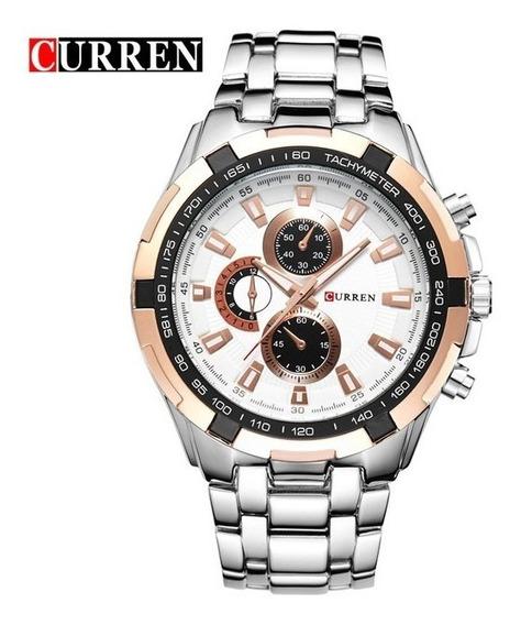 Relógio Masculino Social Casual Dourado Luxo Aço Top Curren