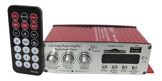 Amplificador Receiver 2 Canais Som Casa Pc Usb Radio Fm Sd