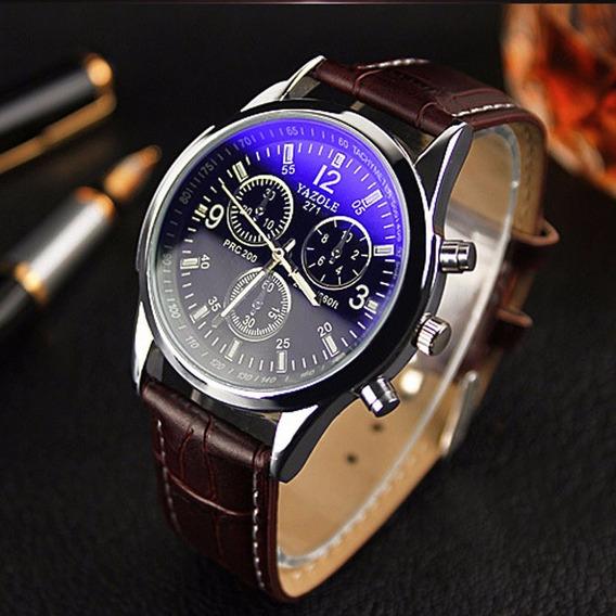 Relógio Masculino Luxo Quartzo Pulseira Couro Vidro Ray Azul