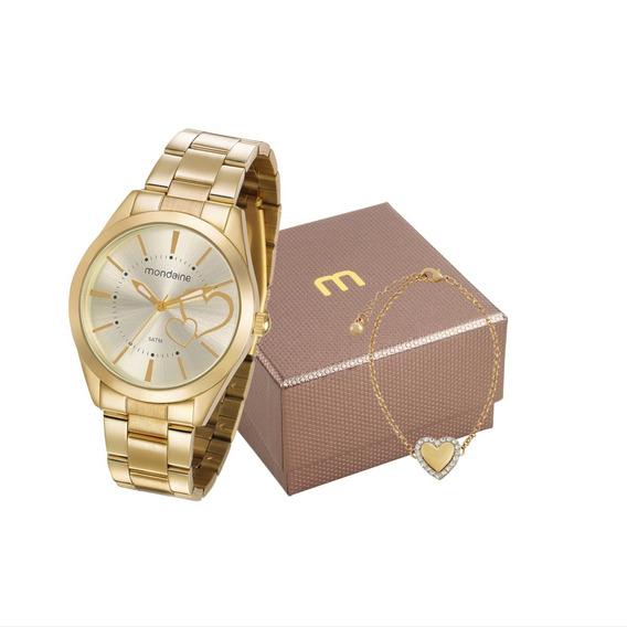 Relógio Mondaine Feminino Analógico + Pulseira 53690lpmgde1k