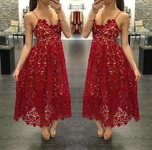 Vestido Rojo Crochet Jardín Playa