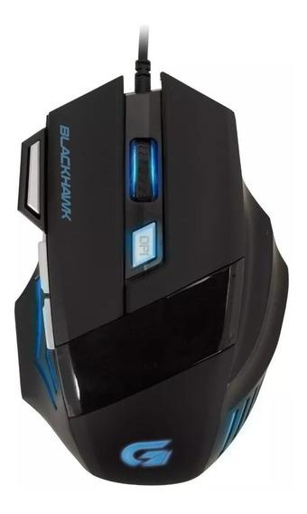 Mouse Gamer Black Hawk Om-703 Preto/azul Cod. 52013 Fortrek