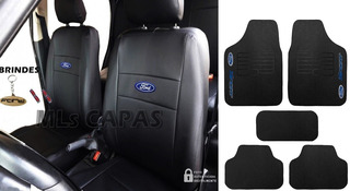 Capa Bancos 100% Couro Fiesta Hatch Glx 4 Portas 2002 + Tapetes Ford