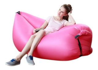 Puff Sillon Inflable Sofa Reposera Playa Pileta Relax Fucsia