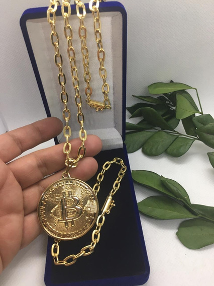 Corrente Masculina Banhada A Ouro Pulseira Pingente Bitcoin