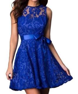 Vestido Festa Formatura Azul Rodado Casamento N. Longo #18