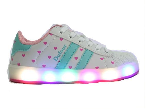 Zapatillas Con Luces Led Con Corazones Para Niñas. Dufour