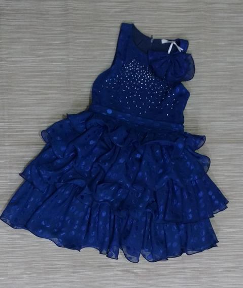 Vestido De Festa Azul Com Babados